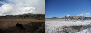 A view of Ironside Mountain from camp, shot right after we arrived, and the next morning, transformed by snow.