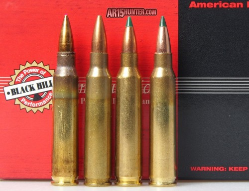 Comparison photo. IMI M855, BH 5.56 77gr SMK, Australian Outback 55gr BlitzKing, BH 5.56mm 77gr TMK.