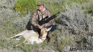 The author's wife with her doe Antelope shot with the Federal 6.8 SPC Gold Dot 90 grain ammo