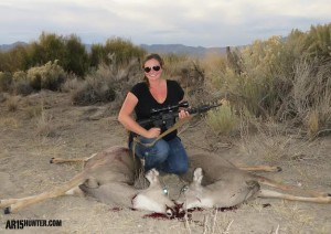 The Author's wife with two Mule Deer doe, one taken with the 90 grain Gold Dot bullet
