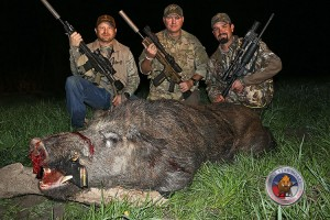 The Largest Boar of the Night, with the Author, Land-Owner and Brother-in-Law.