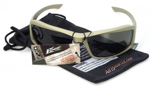 Edge Eyewear Hamel Thin Temple Glasses in Sand with G-15 lenses