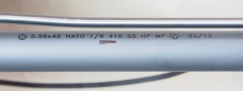 A close-up of the barrel's markings.