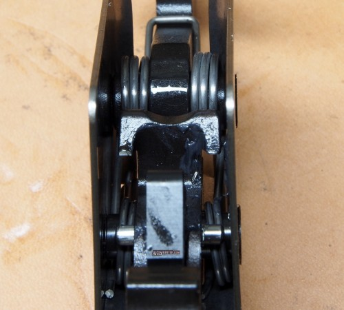 A look at the disconnector and springs. housed inside the trigger's enclosure.