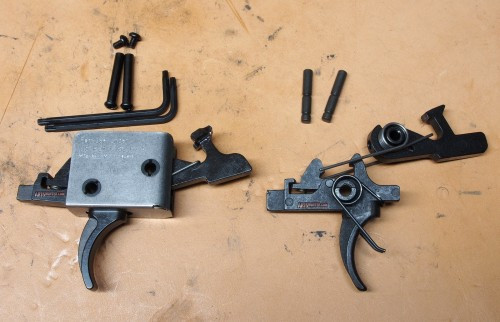 The CMC 2/2 2-stage compared to a Rock River Arms 2-stage NM trigger.
