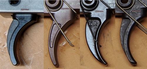 Trigger bow comparison. Left to right; CMC 2/2, Triggers, LaRue Tactical MBT-2S, Geissele Hi-speed DMR, Rock River 2-stage Varmint.