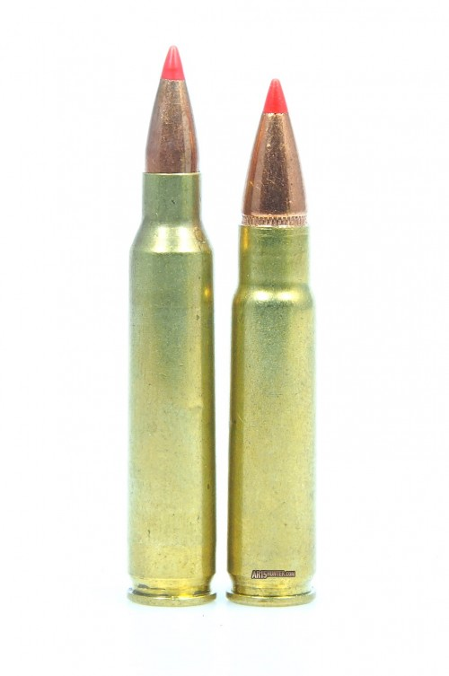 Comparison: .223 55gr V-Max (left) and .277 110gr V-Max (right)