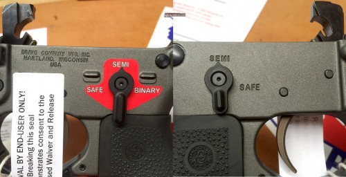 A close up of the included Franklin Armory ambi selector
