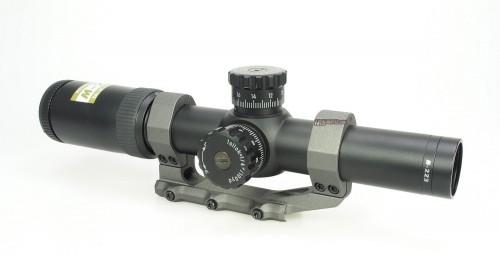 The M-223 1.5-6x24 BDC 600 scope mounted in an Aero Precision 30mm Ultralight mount.